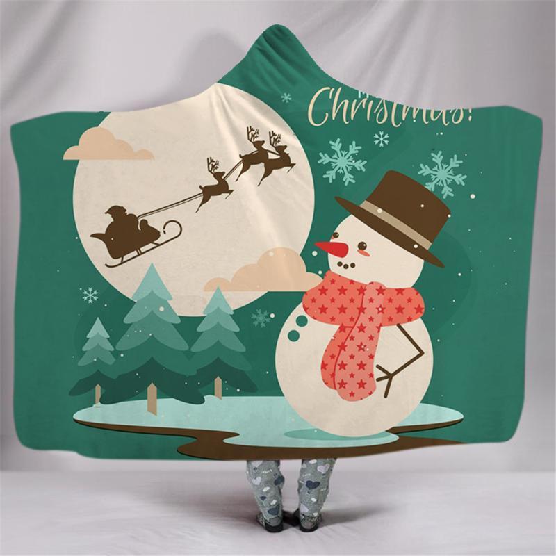 Natale con cappuccio coperta per adulti bambini 3D Stampato peluche Sherpa Coperta indossabile Lancio caldo Per la casa di viaggio Divano