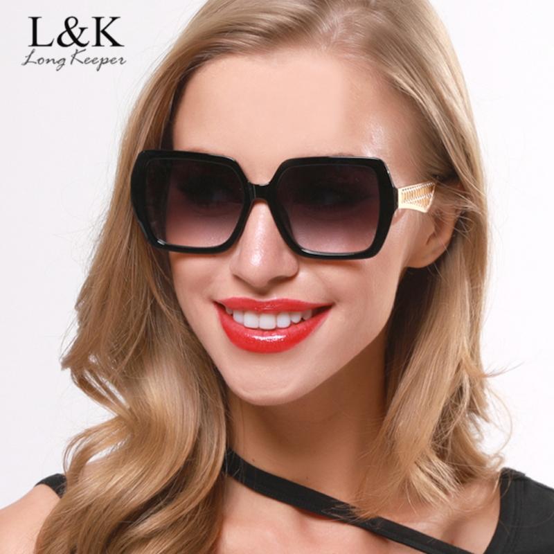 LongKeeper retro occhiali da sole Donne Piazza del progettista di marca Gradient Lens Occhiali da sole femminile Vintage lunette de Soleil Femme UV400