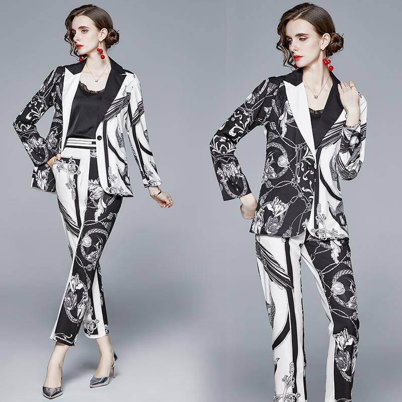Bahar Güz Pist İki Parçalar 2adet Kadın Bayanlar Casual Setleri Vintage Baskı Yaka Yaka Uzun Kollu Üst Ceket Kaban Pantolon Eşofman Kıyafetler