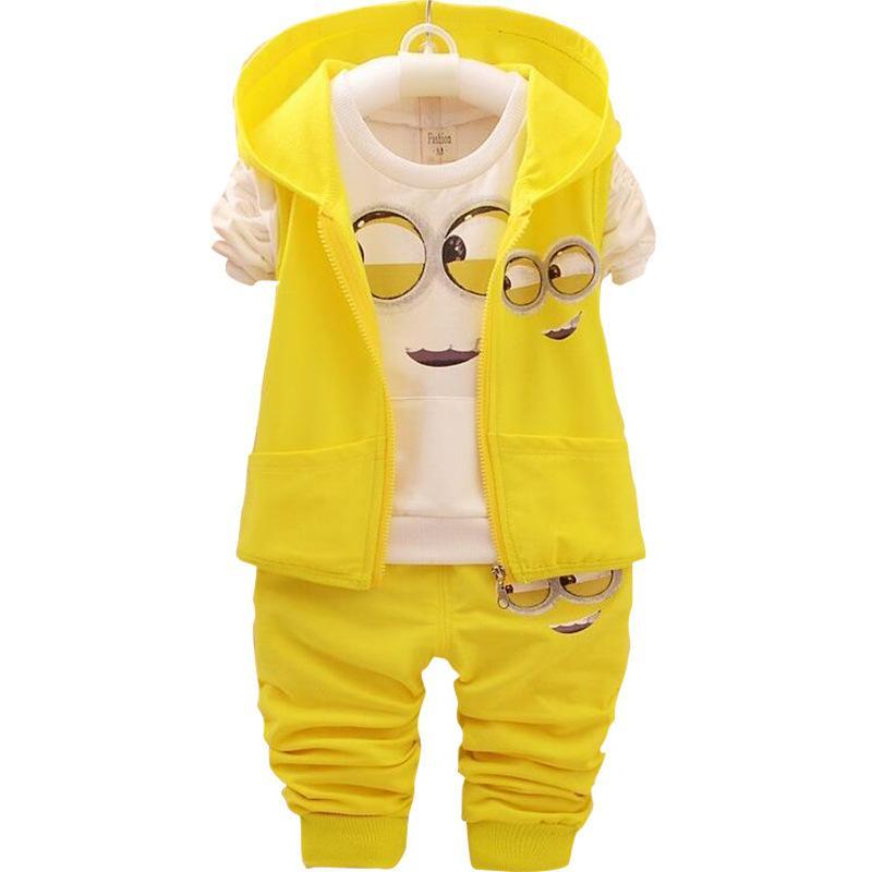 아기 소녀 소년 미니언 의류 어린이 새로운 봄과 가을 만화 면화 정장 후드 조끼 + T 셔츠 + 바지 옷 세트