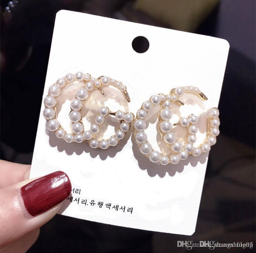 S925 personalità spilla d'argento orecchini di perle femminile esagerato lettere rosse netti Giappone e Corea del Sud Europa e in America orecchini orecchini breve