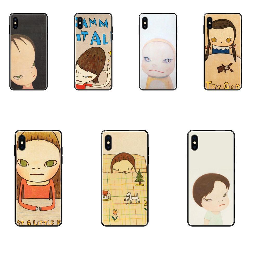 Para iPhone 5 11 12 Pro 5S SE 5C 6 6S 7 8 X 10 Cubierta protectora XR XS Plus Max TPU caso de la historieta Arte Yoshitomo Nara