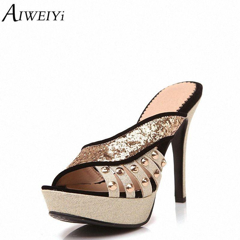 AIWEIYi Вьетнамки Обувь женщина лето Стиль Пляж тапочки Блеск тонкий каблук высоких каблуках Слайды тапочки Повседневная обувь Женщина whh6 #