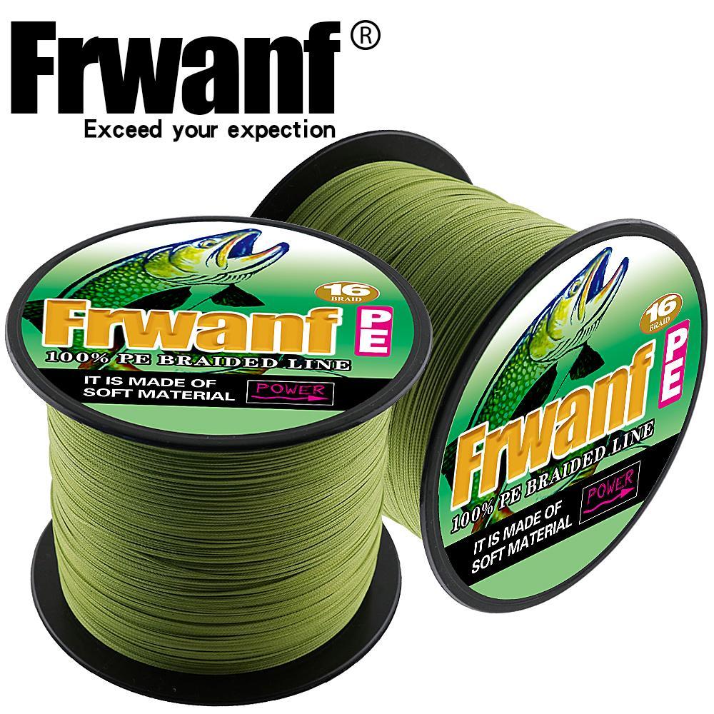 Frwanf 16 fili super-pe alveolari linea intrecciata di pesca 300M 328yards ghiaccio fili da pesca acqua salata 15-500LBS prova liscio mare T200909