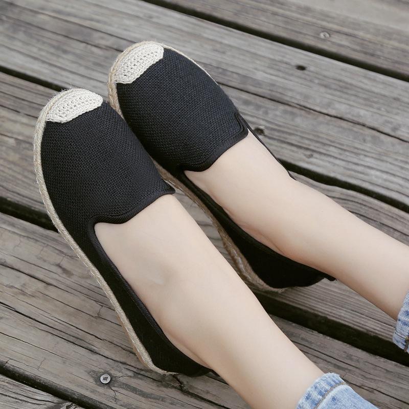 Kadın Casual Terlik Yumuşak Alt Beyaz Ayakkabı Katı Flats Sığ Ayakkabı Canvas gilrs Espadrilels Nesil