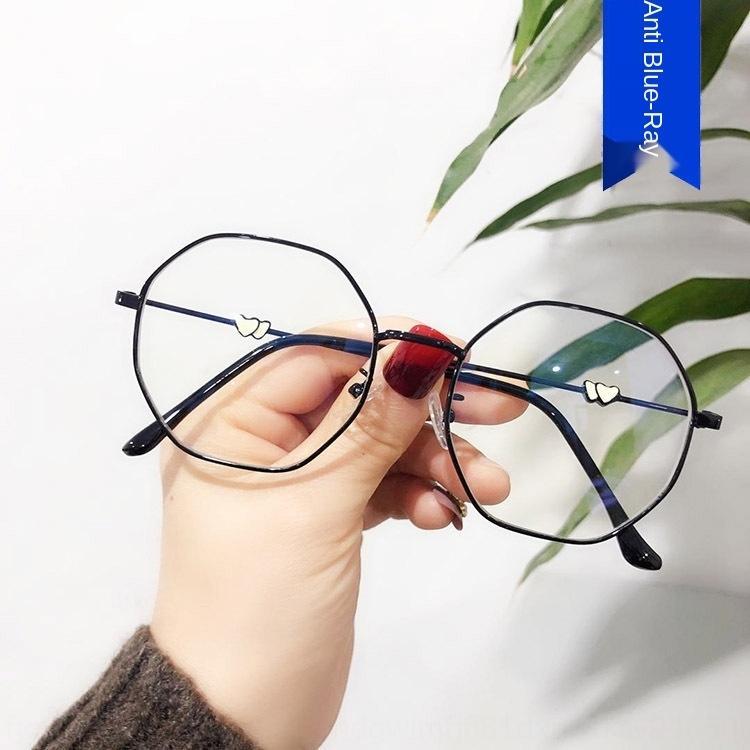 LK8AK Anti-bleu clair à double amour ordinaire 2020 nouvelles lunettes de mode polygone cadre célébrité Internet coréenne lunettes cadre