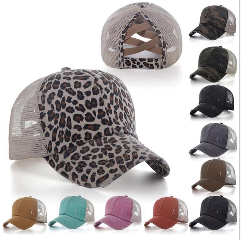 Erkekler Kadınlar at kuyruğu Beyzbol şapkası Dağınık Bun Kamuflaj Leopar Şapka Pamuk Snapback Casual Yaz Güneşlik Açık Caps Şapka Yıkanmış