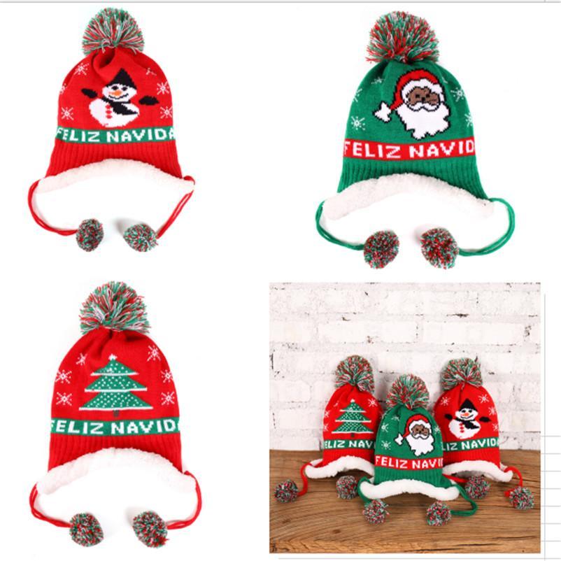 Baby Boy Strickmütze Winter warme Fleece-Futter Beanies Letters Stickerei Beanies Kinder Childs Weihnachten Ski-Schnee-Kappen Ohrenwärmer Kappen D91005