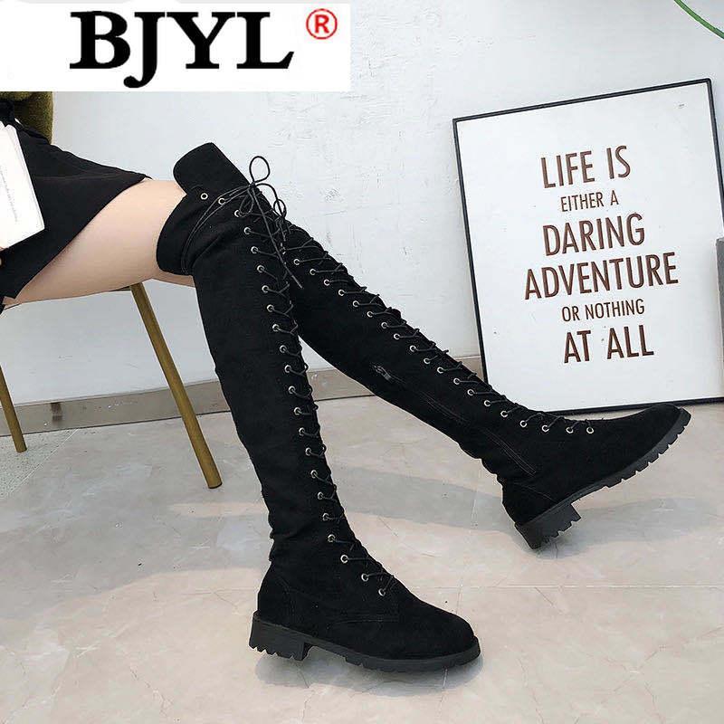الأحذية 2021 أزياء المرأة فوق الركبة عالية المرأة مثير الجبهة الدانتيل متابعة الأحذية الإناث كعب مسطح السيدات 6 ألوان الشتاء