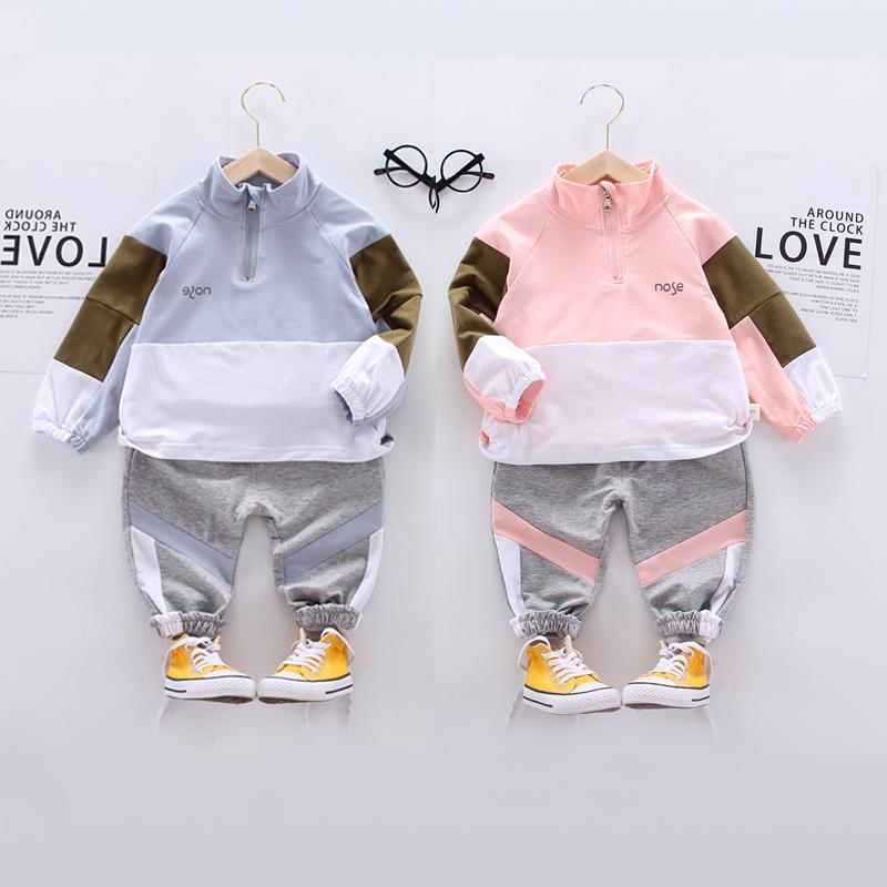 Primavera Autunno Moda per bambini della ragazza del ragazzo copre gli insiemi top + pantaloni del bambino delle ragazze dei vestiti casuali del cotone dei vestiti