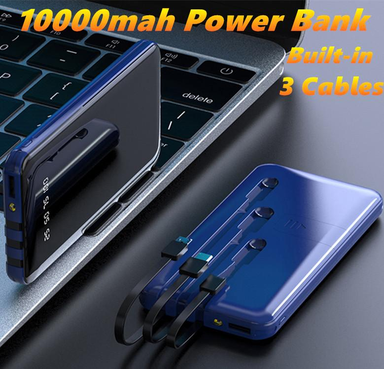 10000mah Power Bank Built in 3 Cables Full Screen Powerbank Fast Charging External Battery With Phone holder for IPhone Samsung charger MQ20
