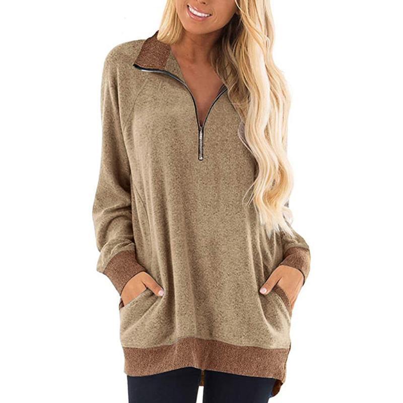 Плюс размер женщин футболки с длинным рукавом 5XL Сыпучие Повседневная Длинные футболки Zipper фронт женщин Осень Одежда 2020 Блуза Tshirts