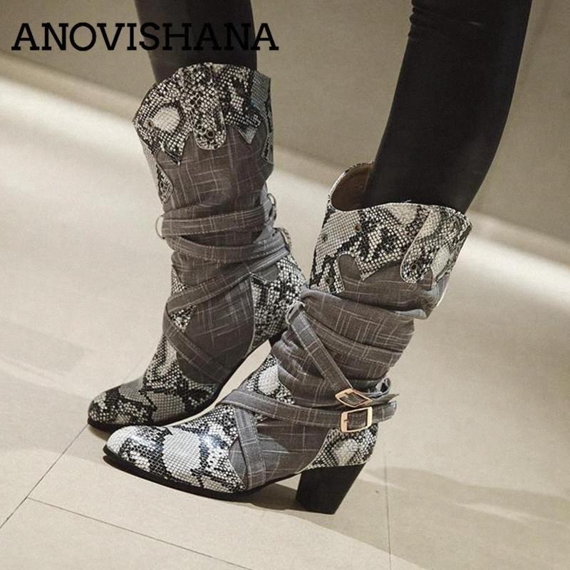 ANOVISHANA Inverno Stivali Donne del cowboy occidentale stivali per le donne la stampa del serpente Scarpe metà polpaccio femminile Booties Botas Mujer A693 H5Cc #