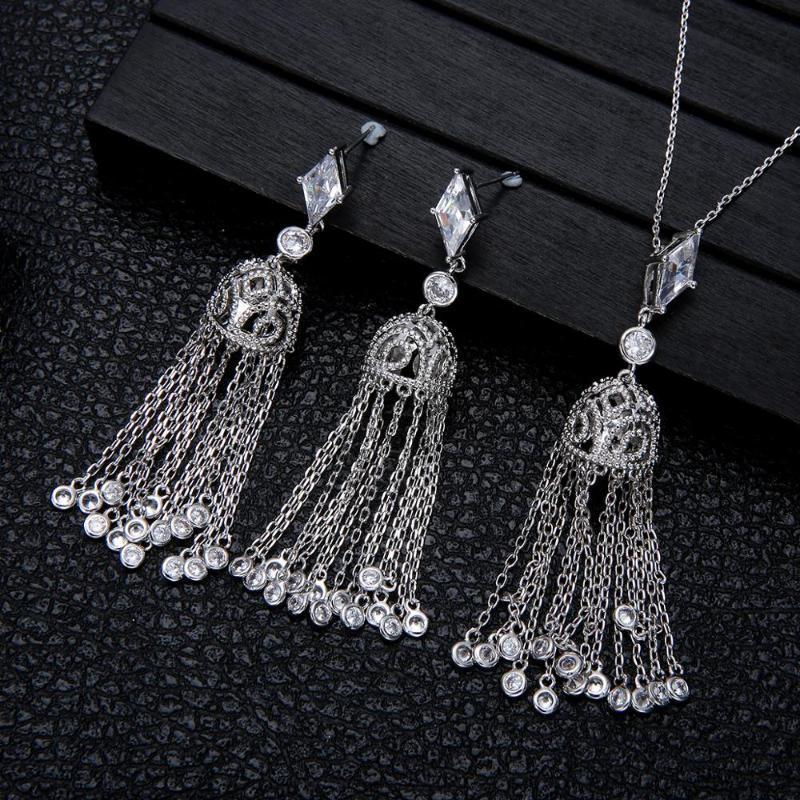 Gotas de lujo borla pendiente del collar Establece cúbicos circón joyería fija el cristal de la CZ de las mujeres de la India boda joyería nupcial conjunto d1378