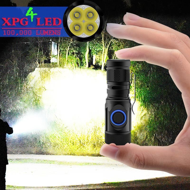 최고 루멘 가장 강력한 LED 토치 미니 조명의 USB 크리어 4 * XPG LED 전술 방수 재충전 18,650분의 18,350 배터리