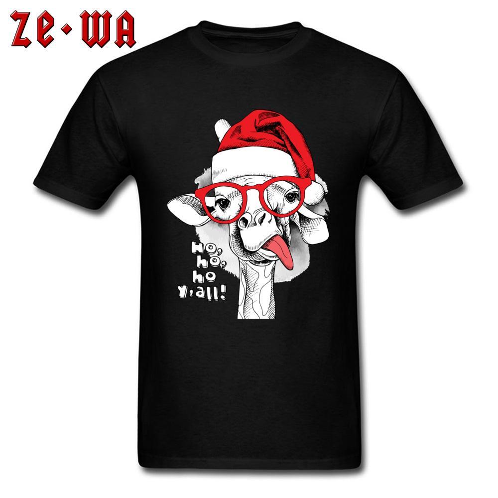 Yeni Coming Erkekler Tişört Noel Hediye Tişört Komik Zürafa Santa Hat Baskı Noel Karikatür Tees Kısa Kollu Pamuk Giyim Tops