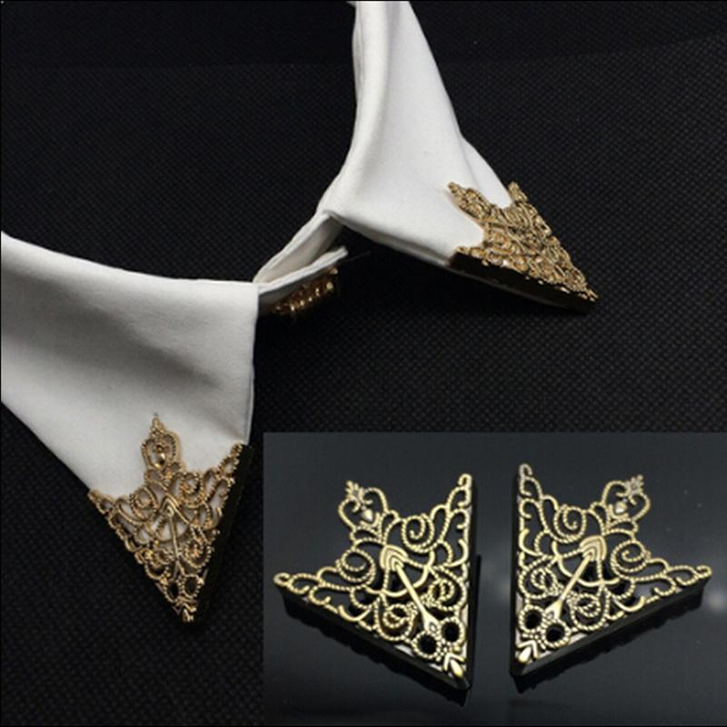 1Pair Crown Hollow Pattern Triangle Shirt Collar Horns Pin Gold Ancient Bronze Colors Tie Clips For DIY Women Jewelry Findings