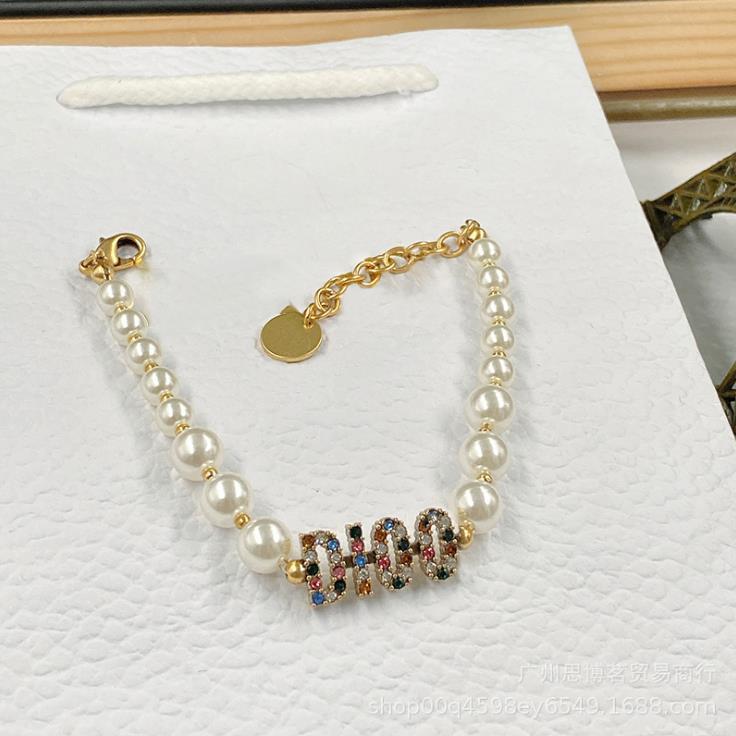Neue CD Brief Perlenkette Armband Frauen edle populäre Licht Luxus hohe Textur japanische und koreanische Mode