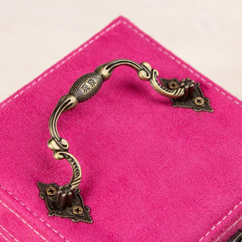 Orecchino casella Corea principessa monili svegli Storage Box europea Retro Flanella Piccoli gioielli