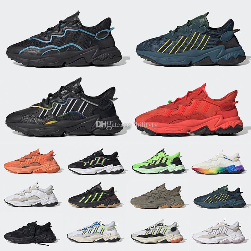أحذية ركض للرجال والنساء من King Push Ozweego أحذية رياضية رياضية من الجلد Xeno عاكسة باللون الأسود الفاتح والأزرق السماوي Pusha T