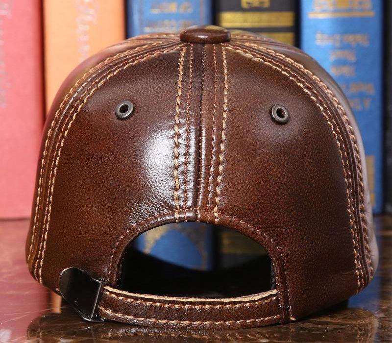Adulte Baseball Cap Homme extérieur hiver Hat Homme 100% cuir véritable Casquette hommes d'hiver chaud B-728666 réglable