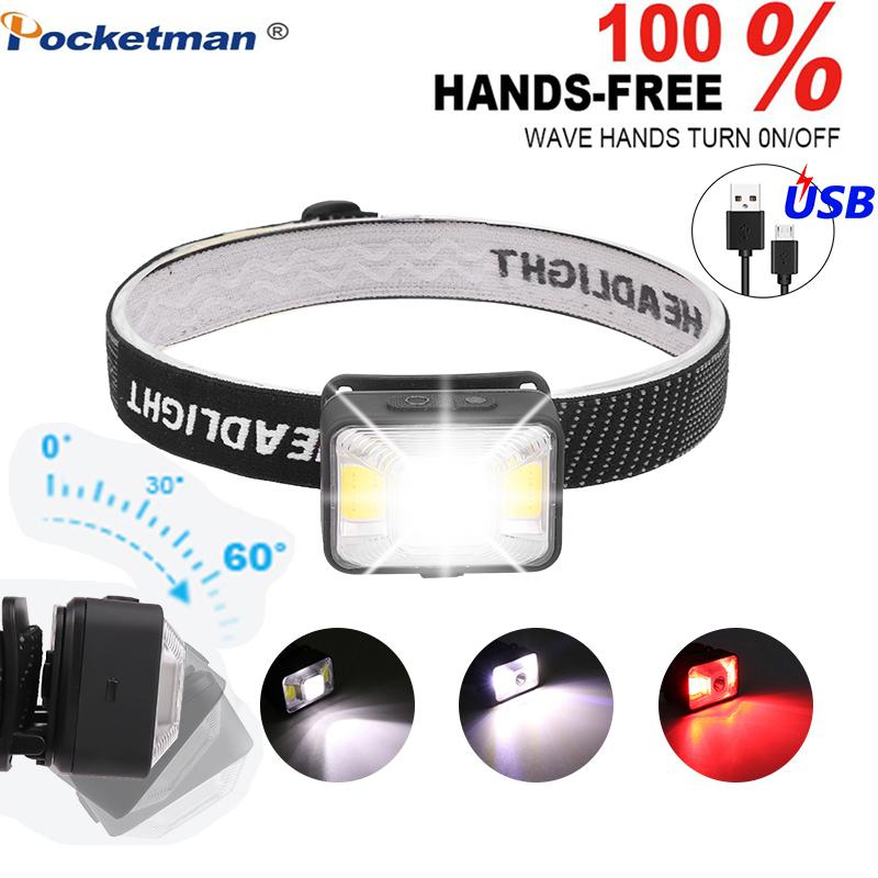 5000LM LED Headlamp Rechargeable Headlights, XPE LED+2*COB USB Cable,Waterproof Head Torch With Red/White Light