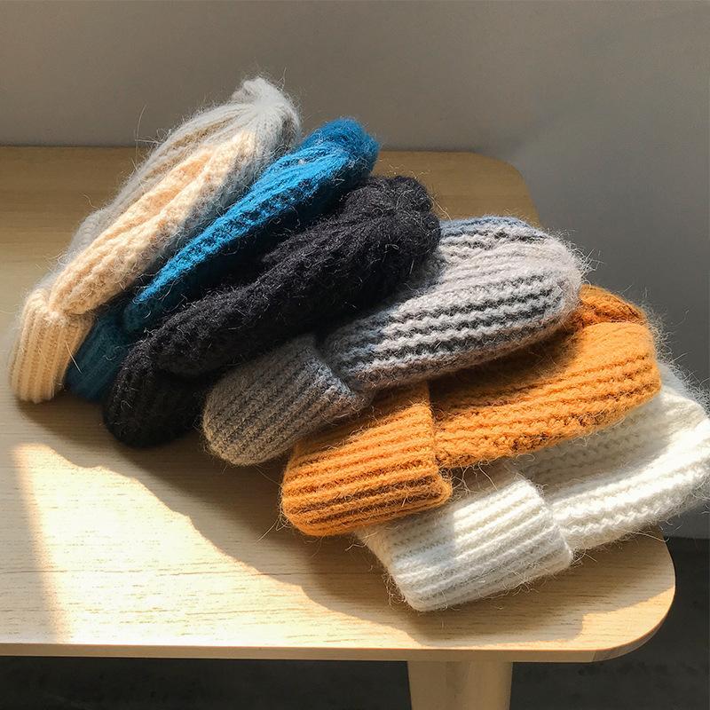 Otoño Invierno Todo-fósforo de las mujeres del capo color sólido grueso de punto de lana sombrero mantenerse caliente Estudiantes Full-sombrero suave de punto de algodón Gorros