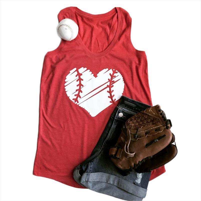 3 Renk Kadınlar Tankı Beyzbol Kalp Ç Boyun Casual Kolsuz Top Yaz Gevşek Moda 2020 Tee Pretty Bayanlar Üst Baskı Tops