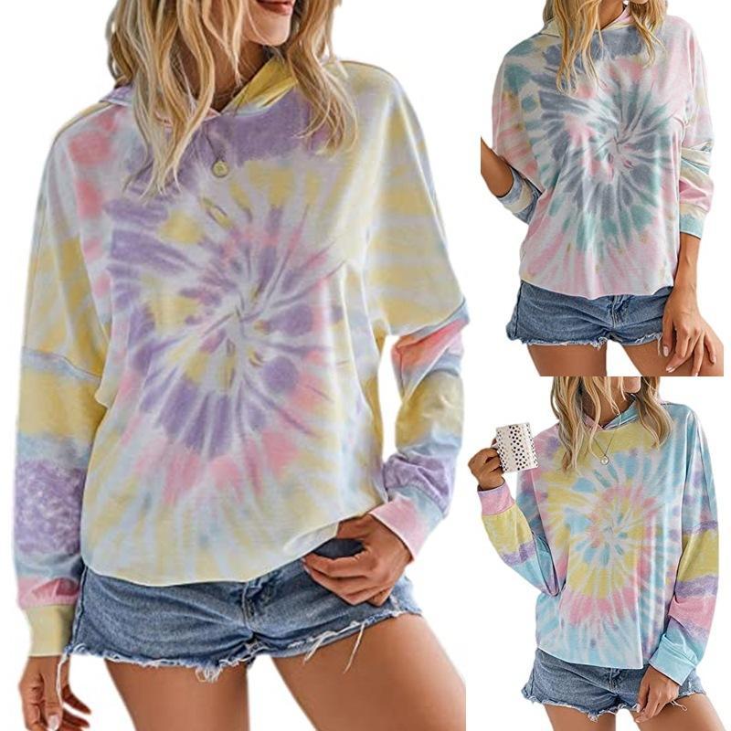 Взрывы женщин 2020 весной и осенью Новый Tie-краситель печати с капюшоном с длинным рукавом Удобная дышащая Мода дамы футболку свитер