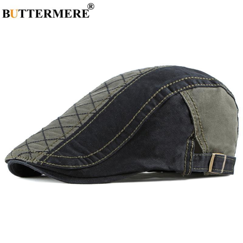BUTT Flatcap für Herren Barett-Hut Schwarz Armee-Grün Patchwork Frühling Suumer Baumwollbeiläufiges Männer Ivy Hüte