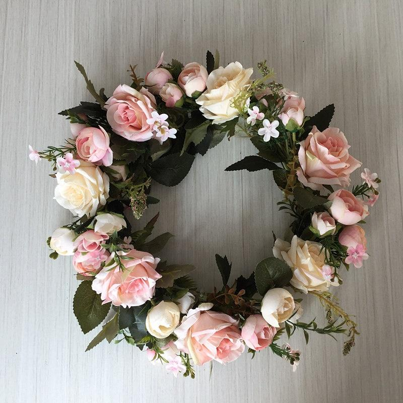 13 Inch Floral Wreath Artificial Silk Rose Flower Wreath for Hanging Wall Window Decor Wedding Door Festivals Decoration