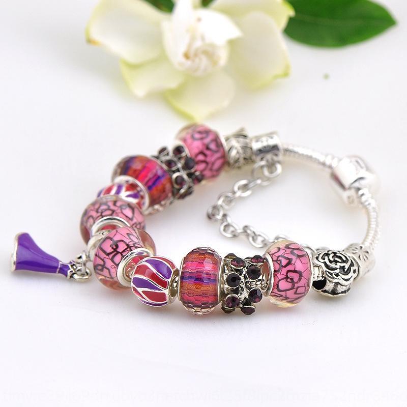 2aG1H jóias Cristal grande buraco frisado DIY strass pan DUO Diy bracelete de diamantes Buraco frisado pulseira de diamantes