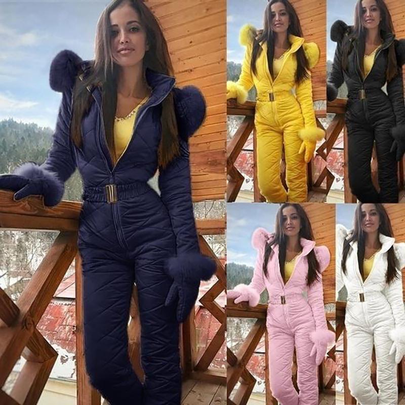 BKLD d'hiver garder au chaud les femmes Mode Outdoor Grimpe Ski Habineige Jupettes Zipper manches longues à capuche Jumpsuit Femme fausse fourrure Outwear T200917