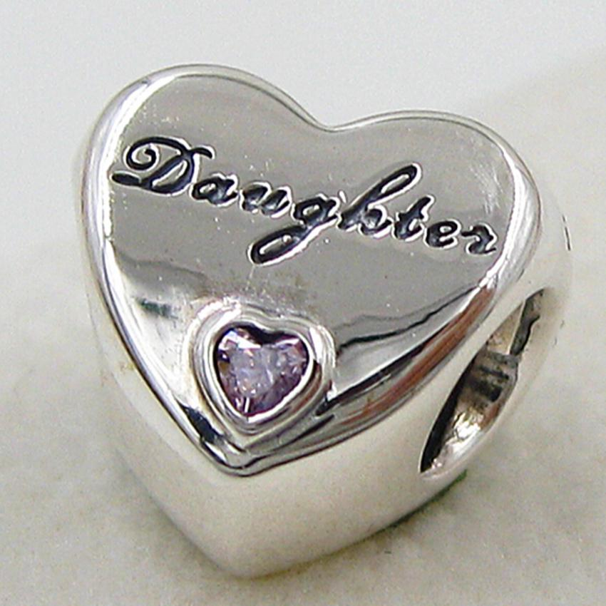 Sterling Silver Daughter's Love Charm Pendant Bead with Pink Cz Fits European Pandora Style Jewelry Bracelets ps2042