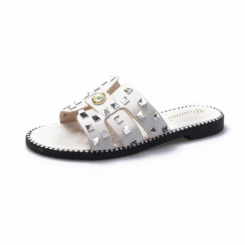 Лето Женщины Основные Бриллианты Тапочки Кристалл Блестящие скольжению на Cut Out Ladies Flat Sandals Открытый отдыха Слайды 9070 at1K #