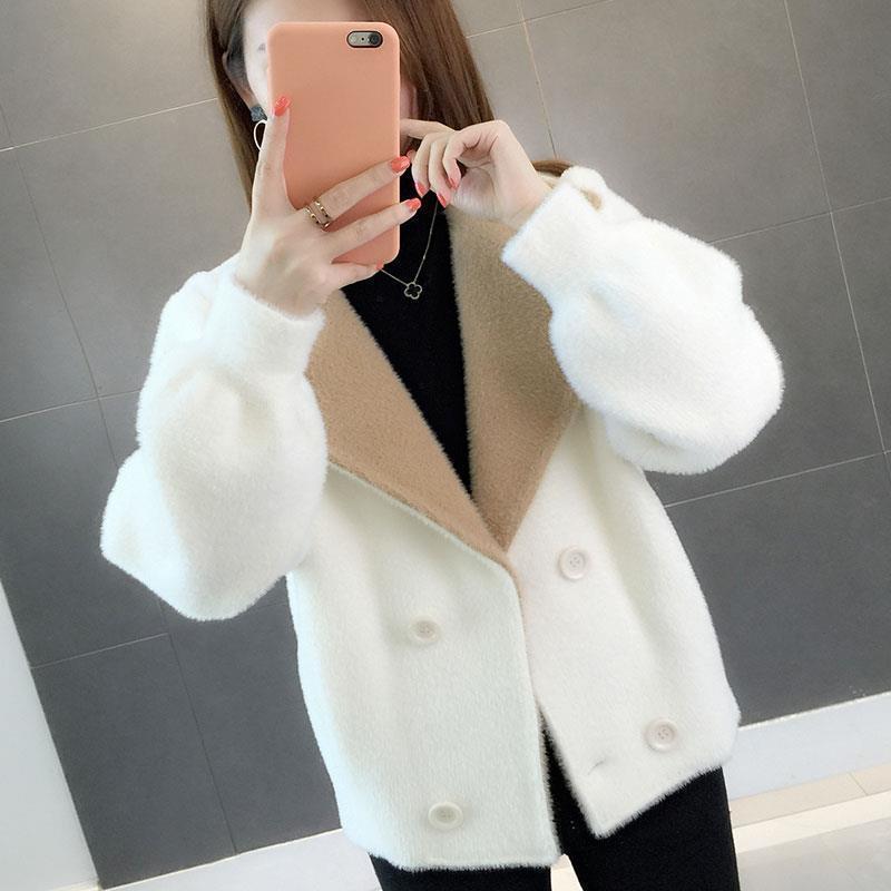 Warm Fur Long Sleeve Faux Mink Fur Coat Winter Short Hair Faux Fur Coat Solid Color Ladies Outerwear Casual Coat Female T200915
