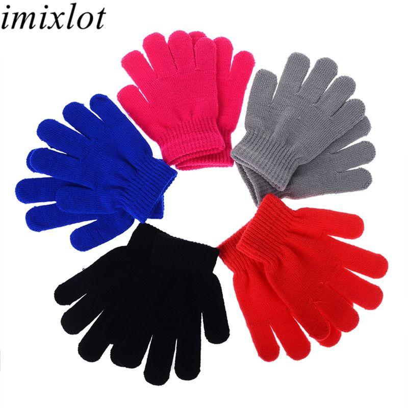 Imixlot Unisex Kış Örme Tam Parmaklı Eldiven Çocuklar Açık Coldproof Windproof Katı Renk Isıtıcı Bilek Aksesuarları