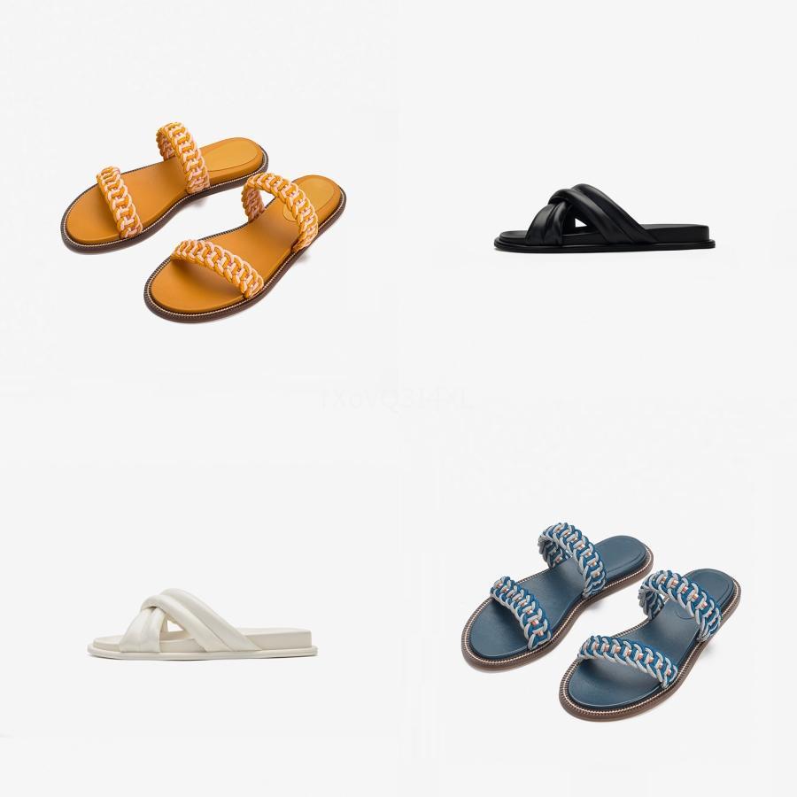 Verano caliente mujeres de la venta de tirón del color sólido de la pajarita sandalias planas del talón Tamaño 36-40 al aire libre deslizador de la playa Zapatos Mujer Y200620 # 179