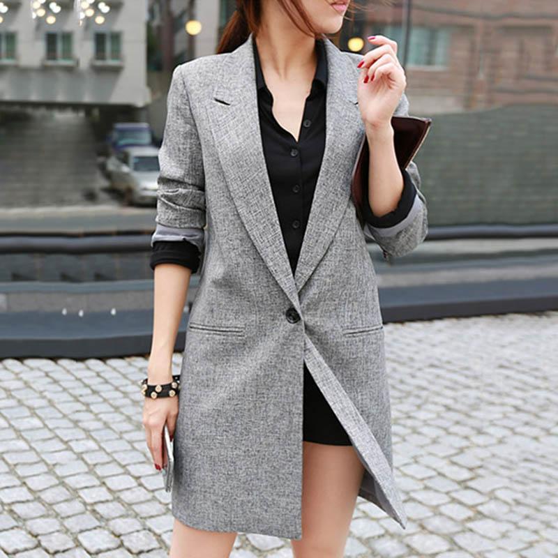 Женщины дамы костюм пальто с длинным рукавом сплошной цвет Open Front Blazer для Office Home SER88