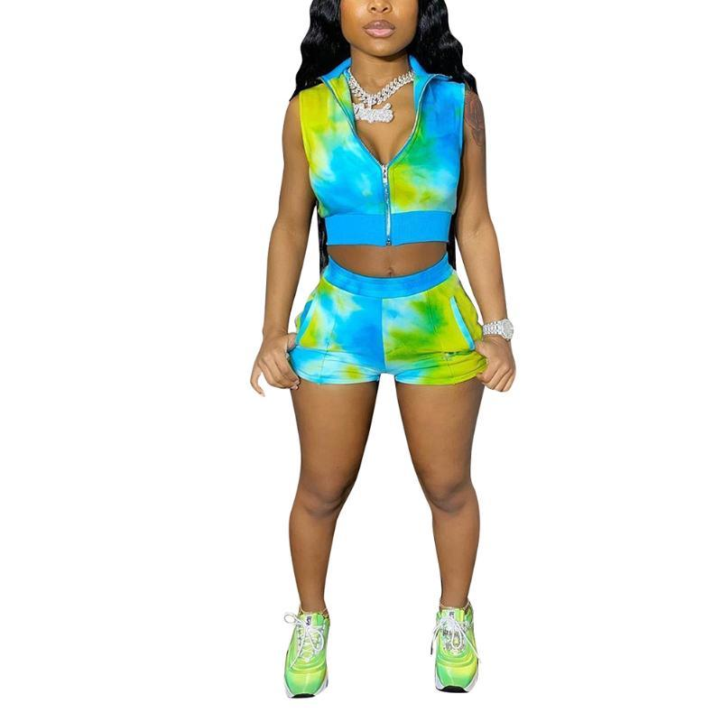 Womens Tie Dye Tracksuit Sets Sleeveless Tank Top High Waist Short Pants 2Piece Sets Ladies Matching Set Women Sweat Suit Set