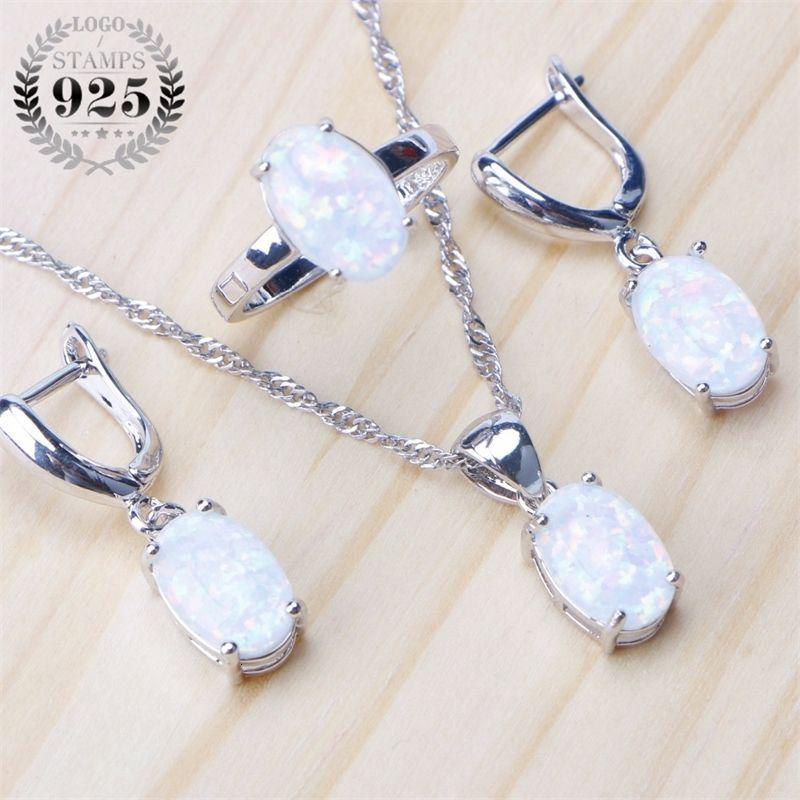925 Sterlingsilber-Opal Stein Hochzeit Braut-Sets Ohrringe für Frauen Kostüm Schmuck Halskette Ring Set Geschenkbox