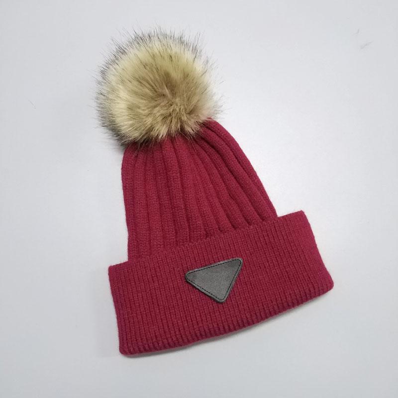 Trendiger Strickmütze mit Dreieck-Plakat Winter warme Beanie Pomball können 7 Farben mit guter Qualität verschoben werden