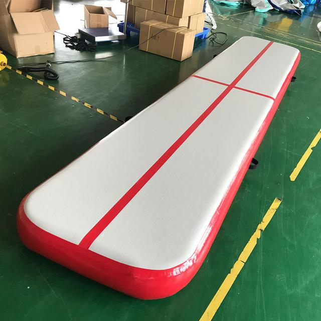 Red Color Inflatable Tumble Track 3*1*0.1m Gym Mat For Training Home Use Air Floor For Kids And Adults DWF Gym Mat Cheerleading Bouncer