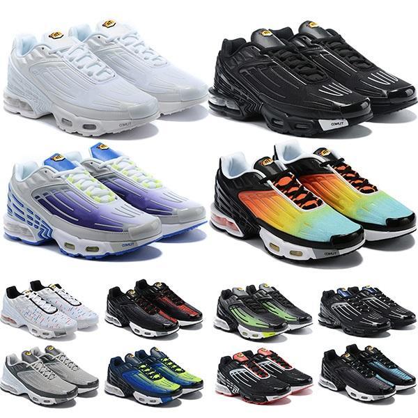 Yüksek Kalite TN Artı 3 Tuned Koşu Ayakkabı Chaussures Üçlü Beyaz Siyah Hiper Mavi ABD Neon OG Mens Bayan Eğitmenler Sneakers Spor