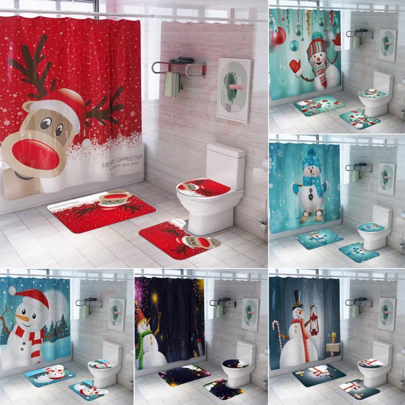 Weihnachtssitzwanne Badezimmer-Vorhang Set Schneemann Elk Anti Slip Teppich Deckel Toiletten-Abdeckung Badmatte Wohnkultur Frohes Neues Jahr