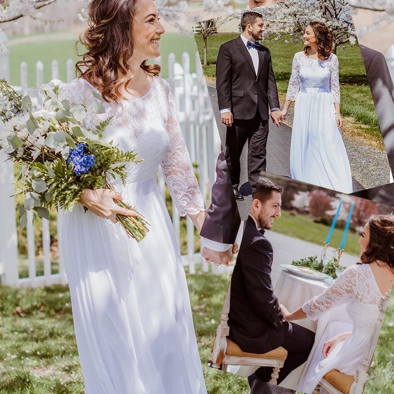 Plus Size Wedding Dresses Elegant A-Line Lace Long Beach Vintage Bridal Dress with Sleeve Ever Pretty Party Gowns Vestido de Noiva