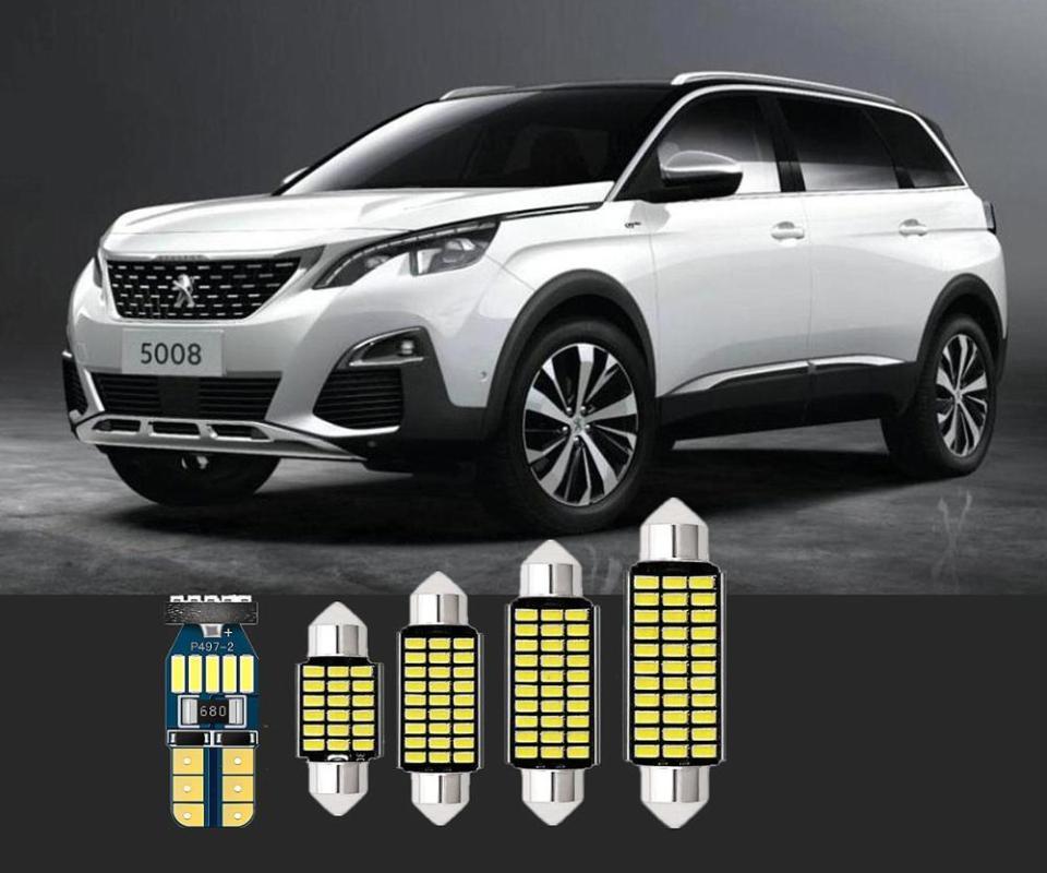 6pcs bóveda del coche LED blanco luz interior se enciende la luz de la lámpara T10 Para RCZ socio 307 4007 607 406 407 505