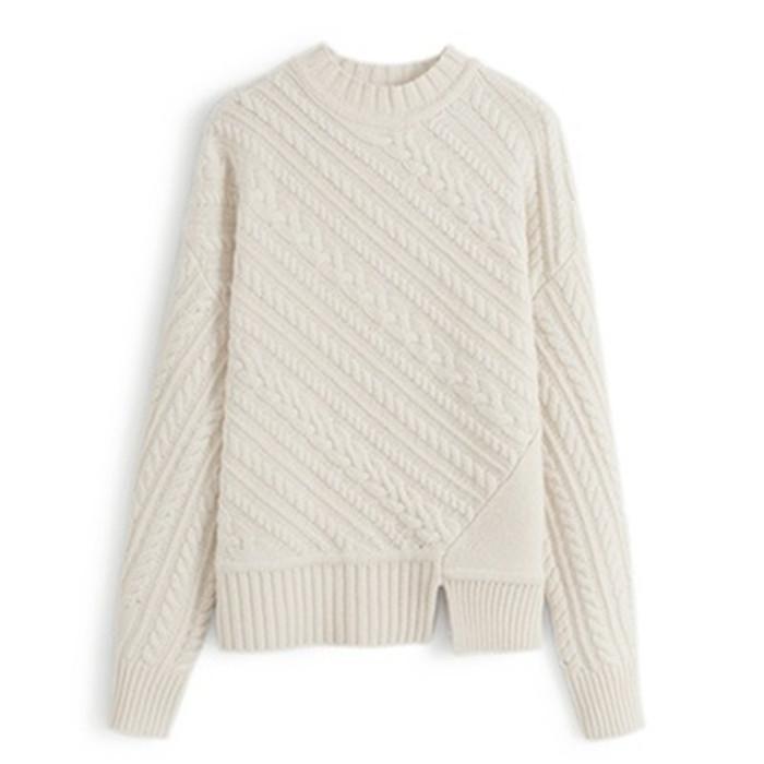 Sonbahar Kış Avrupa Yüksek kaliteli Triko Moda gündelik Boş Düz renk Kadınlar Yün Triko Çizgili ızgara streetwear büküm kazak