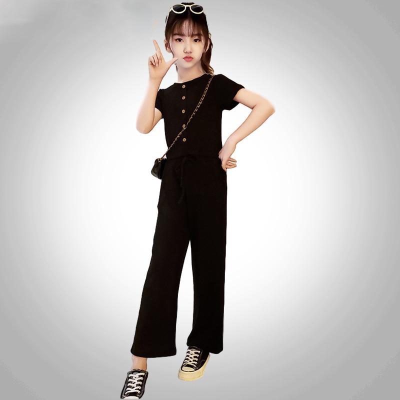 2020 del verano del nuevo juego de las muchachas grandes del verano niños coreanos del estilo de Super Color de Asuntos Exteriores de la pierna ancha pantalones Capri-sistema de dos piezas