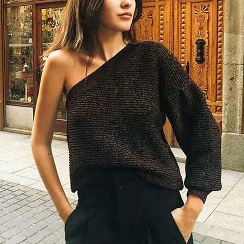 Donne alla moda Maglioni One-spalla per le donne Inverno d'Oro a coste lavorato a maglia Pullover signore elegante maglieria ragazze Chic Maglione eaSz #